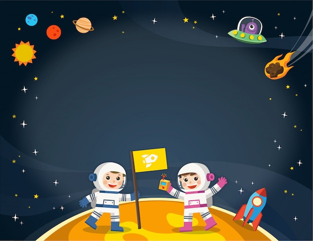 Astronauta sul pianeta con un'astronave aliena. scene spaziali modello per brochure pubblicitarie.