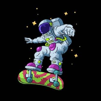Astronauta gioca a skateboard isolato sul nero