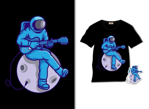 Astronauta che suona la chitarra sull'illustrazione della luna con il design della maglietta