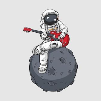 Astronauta che suona la chitarra sulla luna,