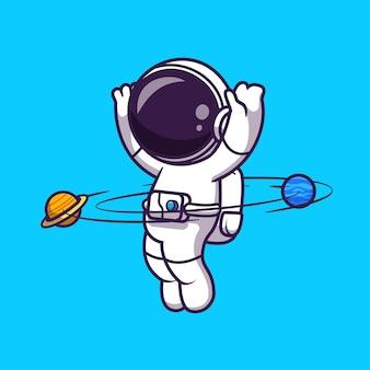 Astronauta che gioca hula hoop pianeta fumetto icona vettore illustrazione. vettore premium isolato concetto di icona di tecnologia di scienza. stile cartone animato piatto