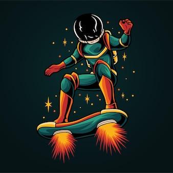 Astronauta che gioca a skateboard nello spazio