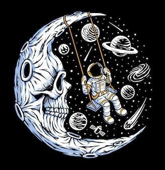 Astronauta che gioca altalena sulla luna del cranio
