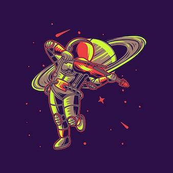 Astronauta che suona il violino contro il pianeta