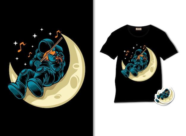 Astronauta che suona il violino sull'illustrazione della luna con il design della maglietta