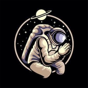 Astronauta che prega nell'illustrazione dello spazio