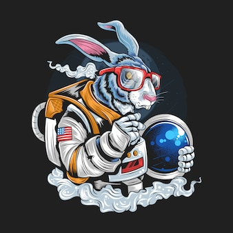 Hipster di coniglio di astronaut
