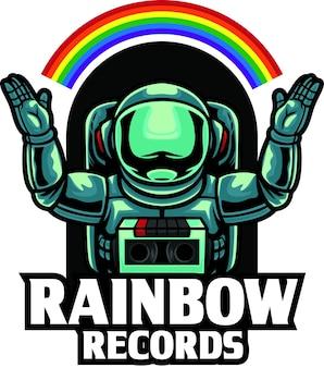 Astronauta rainbow record logo mascotte modello