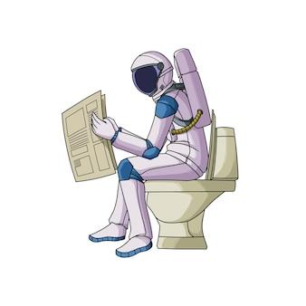 Astronauta che legge papernews sul water