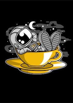 Astronauta rilassarsi personaggio dei cartoni animati