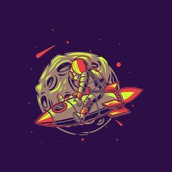Astronauta cavalca un razzo contro la luna