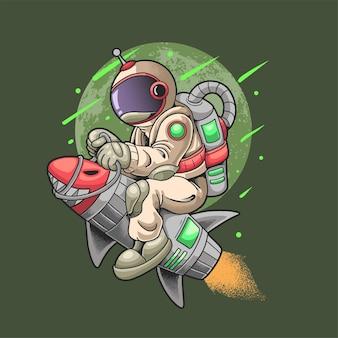 L'astronauta cavalca il razzo viaggia nell'universo