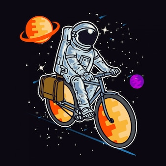 Astronauta in sella a bici