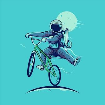 Astronauta che guida bmx isolato sull'azzurro