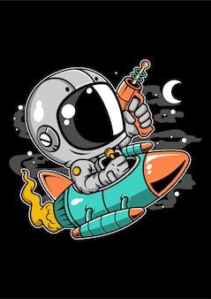 Personaggio dei cartoni animati di astronauta equitazione razzo