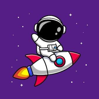 Illustrazione del fumetto di astronauta equitazione razzo. stile cartone animato piatto