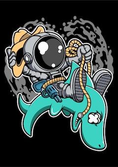 Personaggio dei cartoni animati di astronauta equitazione squalo