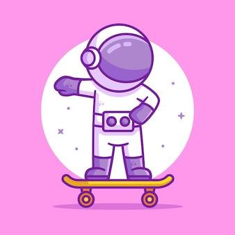 Illustrazione dell'icona di vettore del logo dello skateboard di guida dell'astronauta illustrazione dello spazio premium in stile piatto