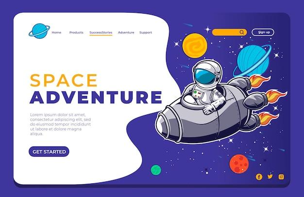 Astronauta in sella a una pagina di destinazione di un razzo spaziale