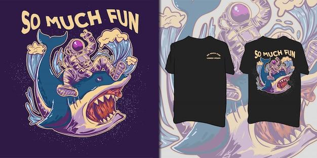 Astronauta equitazione squalo selvaggio illustrazione.