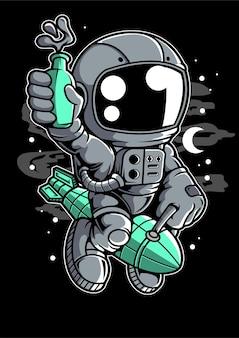 Personaggio dei cartoni animati di astronauta razzo