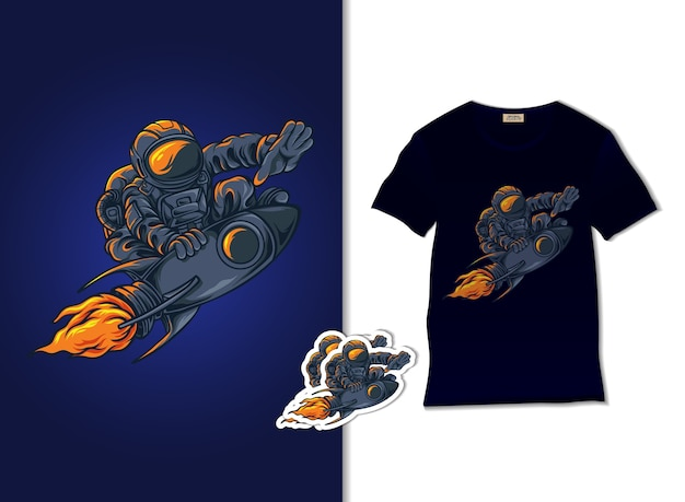 Astronauta sull'illustrazione del razzo con il design della maglietta, disegnato a mano