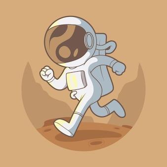 Astronauta in esecuzione illustrazione. viaggio, esplorazione, concetto di design dello spazio.