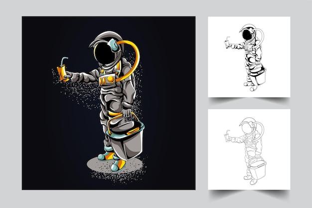 Illustrazione del materiale illustrativo del negozio dell'astronauta