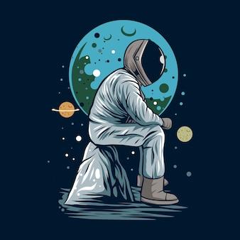 L'astronauta si siede sull'illustrazione dello spazio