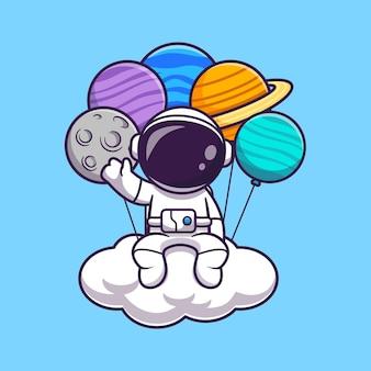 Astronauta che si siede sulla nuvola con l'icona di vettore del fumetto dell'aerostato del pianeta. vettore premium isolato concetto di icona di tecnologia di scienza. stile cartone animato piatto