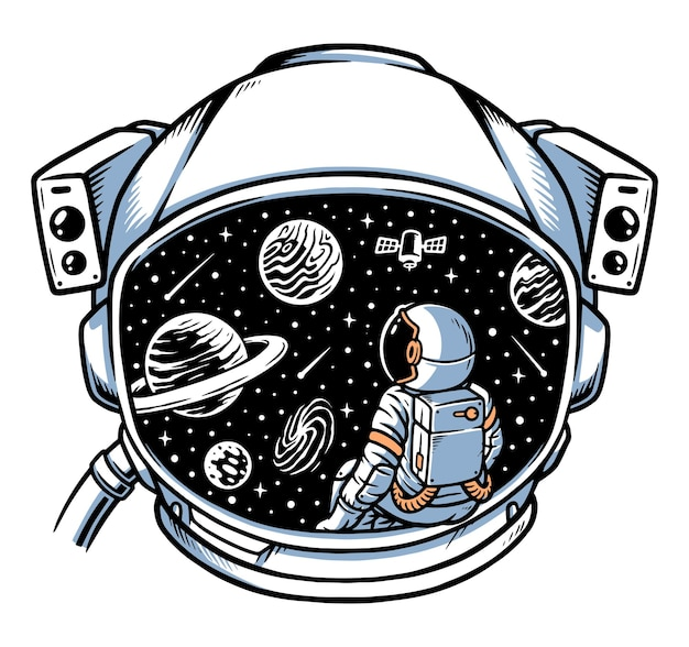 Astronauta seduto a contemplare nel telaio del casco