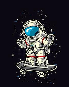 Astronauta skate nello spazio