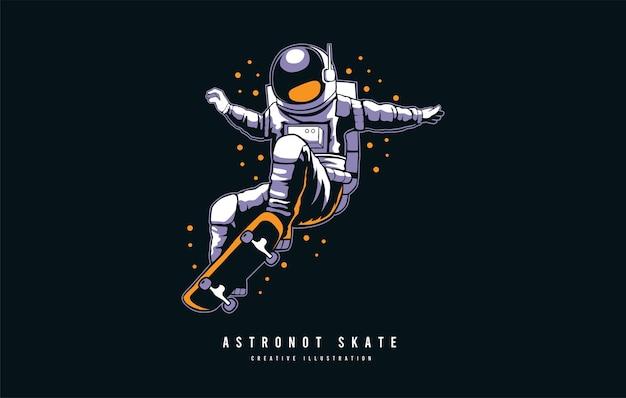 Illustrazione del modello di vettore del pattino dell'astronauta dello skateboard dell'astronauta nello spazio