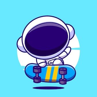Astronauta skateboard simpatico cartone animato mascotte illustrazione vettoriale icona
