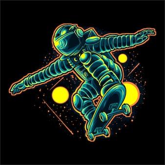 Progettazione dell'illustrazione di vettore dello skateboarder dell'astronauta