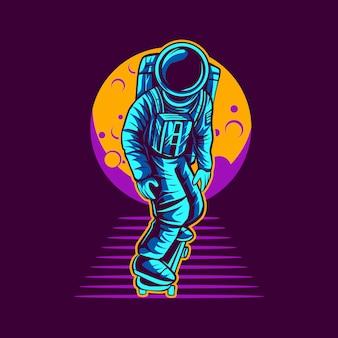 Skateboarding dell'astronauta dal disegno dell'illustrazione della luna