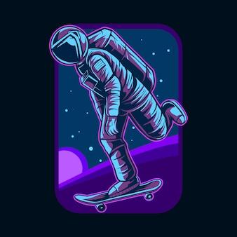 Skateboarding dell'astronauta sull'illustrazione del pianeta