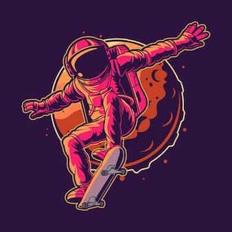 Astronauta skateboard sullo spazio illustrazione vettoriale