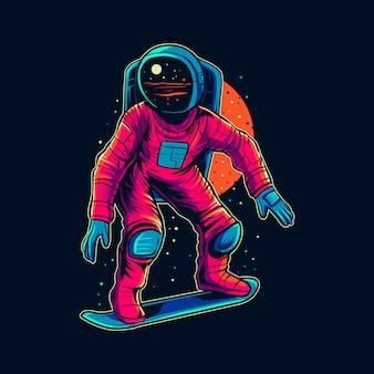 Skateboarding dell'astronauta sull'illustrazione della nebulosa dello spazio