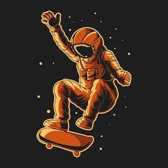 Astronauta skateboard sullo spazio