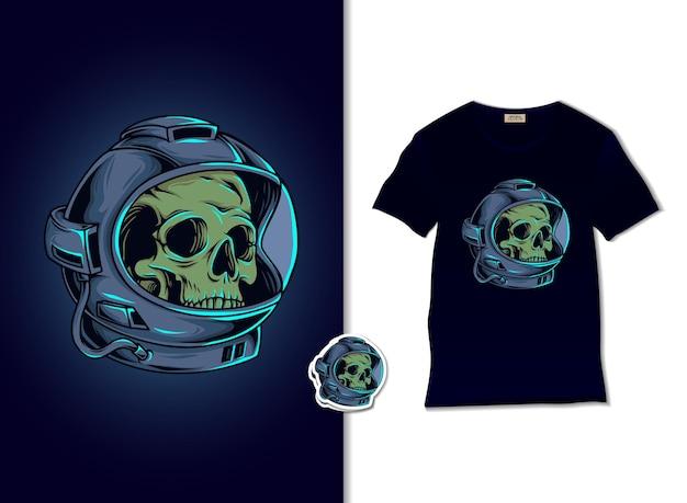Illustrazione del cranio dell'astronauta con il design della maglietta