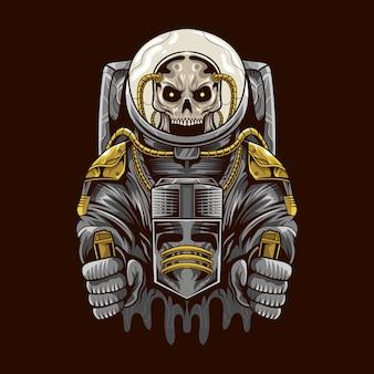 Illustrazione della tuta spaziale del cranio dell'astronauta