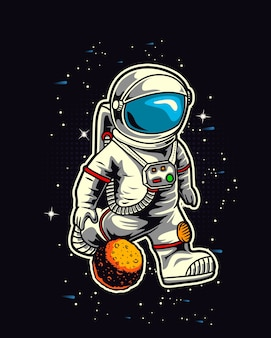 Astronauta calcio nello spazio