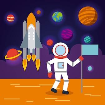 Sistema solare astronauta piatto