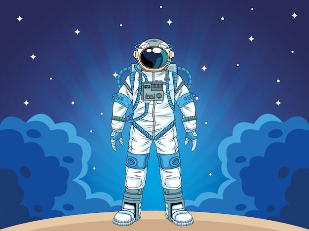 Astronauta nell'illustrazione del personaggio spaziale
