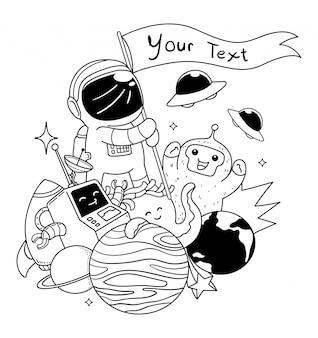 Illustrazione di arte di doodle di spazio astronauta