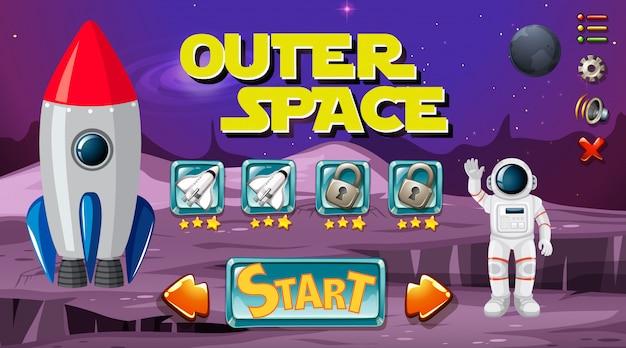 Astronauta nella scena del gioco spaziale Vettore Premium