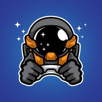 Logo della mascotte dell'astronauta space gamer
