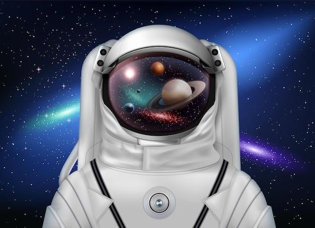 Composizione realistica del casco spaziale dell'astronauta con lo spazio esterno