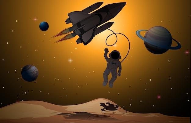Astronauta nella scena spaziale Vettore Premium